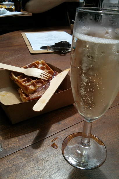 Prosecco with bacon waffles